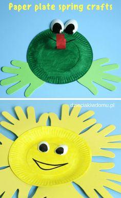 słonce i żaba z papierowych talerzyków / paper plate frog and sun craft idea for kids #kidscrafts #springcrafts #paperplatecrafts