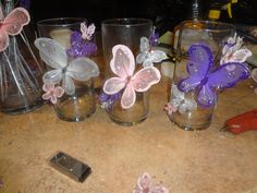 Butterfly centerpieces butterfly butterfly party and butterfly baby sho Butterfly Centerpieces, Mason Jar Centerpieces, Baby Shower Centerpieces, Baby Shower Decorations, Mason Jars, Tall Centerpiece, Decoration Party, Wedding Centerpieces, Table Decorations