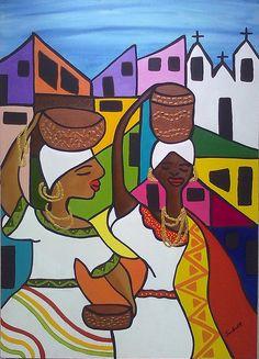 A fonte de inspiração para esta tela foi o trabalho da artista Vanessa Lima e meu amor pelo Pelourinho e as baianas.