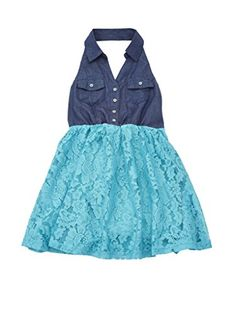 A33052JDE1416 Chilipop Denim  Lace Dress for Girls Halter Flared Skirt Jade *** More info could be found at the image url.Note:It is affiliate link to Amazon.