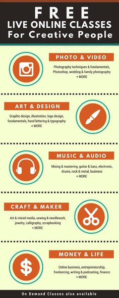 Free online classes for creative people | Live classes are free, you can purchase on demand classes. | photography, design, typography, craft, crafting, DIY, music, online business, entrepreneurship, social media, podcasting, blogging, free online courses #afflink