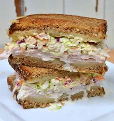 The Rachel Sandwich. Grilled goodness with Swiss cheese, turkey & homemade coleslaw. It's like the warm weather Reuben. Deli Sandwiches, Pastrami Sandwich, Turkey Sandwiches, Rachel Sandwich Recipe, Soup And Sandwich, Sandwich Ring, Croissant Sandwich, Subway Sandwich, Mayonnaise