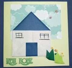 Handmade origami card for a new home