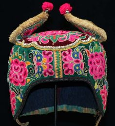 Old  tribal exotic chinese ethnic Yi people's hand dazi embroidery child hat