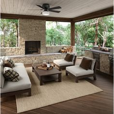 Hunter Barnes Bay 52 in. LED Indoor/Outdoor Natural Iron Ceiling Fan with Light - The Home Depot - David Roary - Hunter Barnes Bay 52 in. LED Indoor/Outdoor Natural Iron Ceiling Fan with Light - The Home Depot - Outdoor Living Rooms, Outside Living, Outside Patio, Backyard Patio Designs, Backyard Landscaping, Backyard Porch Ideas, Screened Porch Designs, Sloped Backyard, Sunroom Ideas