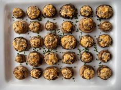 Get Sausage-Stuffed Mushrooms Recipe - low carb from Food Network Low Carb Appetizers, Appetizer Dips, Appetizer Recipes, Dinner Recipes, Holiday Recipes, Yummy Appetizers, Mushroom Appetizers, Holiday Meals, Christmas Recipes
