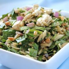 "Spinach and Orzo Salad | ""A friend made this for our burger get together. Awesome!"""