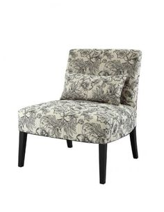 Lila Armless Chair with Black and White Floral