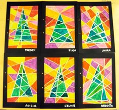 Graphic trees (Christmas art project, http://plastiquem.blogspot.com/2011/12/mes-tapes-dalbum.html?m=1)