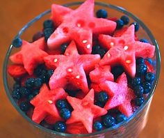 Watermelon stars over blueberries fun for 4th of July