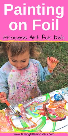 Painting on foil is an easy low-prep, fine motor activity for toddlers and preschoolers. This process art idea is a fun alternative to paper and will delight kids of all ages. art and crafts Painting on Foil - Easy Art Activity for Kids Arts And Crafts For Kids Toddlers, Craft Activities For Toddlers, Cute Kids Crafts, Toddler Preschool, Preschool Crafts, Art For Kids, Preschool Kindergarten, Childcare Activities, Toddler Painting Activities