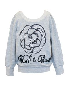 Hannah Banana rock & rose sweater. Fall/Winter 2015 collection. Gray sweater with rose graphic and rhinestones. Back long zipper. Order at babylunaboutique.com