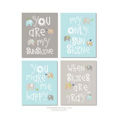 You Are My Sunshine Brooks Wall Art Gray Aqua Tan by YassisPlace