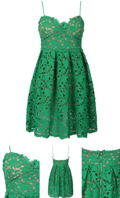 Green Crochet Lace Spaghetti Strap Skater Dress