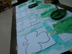 Patricks Day - Shamrock salt paintings - adding salt gives a sheen to the paint Salt Painting, 3 Year Olds, Festivals, Celebrations, Paintings, Teaching, Day, Paint, Painting Art