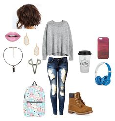 """""""My Style // In Cafe during Winter"""" by thebluedaisy ❤ liked on Polyvore featuring H&M, The 2 Bandits, Fiebiger, Timberland, Kendra Scott, Beats by Dr. Dre, Jigsaw and Nintendo"""
