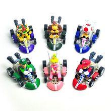 6pcs/lot super mario bros karts terug te trekken auto's pvc action figure speelgoed poppen collectie model(China (Mainland))