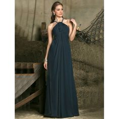 Beaded Halter Chiffon Sleeveless A-line Floor-length Empire Bridesmaid Dresses