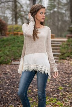 """""""Fringe In Low Places Top, Taupe"""" 