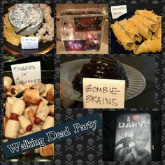 Zombie pus n guts, Woodberry wraps, zombie brains and some fingers in a blanket. Just a few of the foods i made for my party.