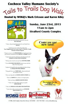 Join us for our dog walk on June 23rd from 11am to 2pm in the Strafford County Complex