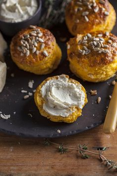 Easy pumpkin and parmesan scones with thyme, and a whipped goats cheese spread on DrizzleandDip.com Photography - Samantha Linsell