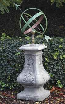 A Carved Limestone Sundial Pedestal With Bronze And Wrought Iron Armillary  Sphere 163 Cm. High X 47 Cm. Wide X 47 Cm. Deep