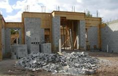 House under construction with concrete block and timber in Delray Beach, Florida - Photo of new construction in Delray Beach, Florida © Jackie Craven