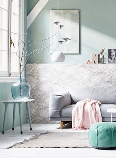 Pastel and marble living room with light blue accessoires. Light Dot by vtwonen, grey couch by First or Second and accessoires by Maison NL, Couleur Locale, Van Dijk & Ko, HK living, Sissy-Boy and white wooden floor by De Oude Plank. | Styling @cscheulderman & @fransuyterlinde  | Photographer Jansje Klazinga & Jeroen van der Spek | vtwonen May 2015 | #vtwonencollectie