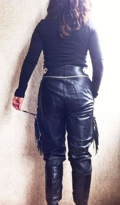 80s Harley Riders  Pants Leather Black Rocker Bangs Fringed  High Waist Trousers Genuine Nappa Italian Fashion Size M  L