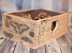 """Короб """"Винтажные бабочки"""" - чёрно-белый,короб для хранения,коробка для мелочей"""