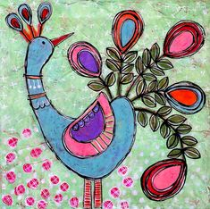 BONBON Original de GEORGE mixte Folk Art Peacock par dishyart