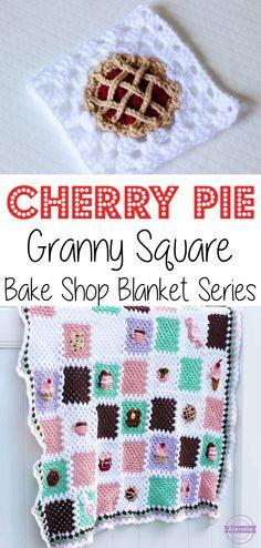 Crochet Cherry Pie Granny Square: Bake Shop Blanket Series | Free Pattern from Sewrella