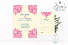 Paisley Wedding Invitations & RSVP cards  by rosastreasures