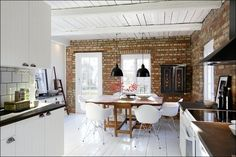 Love the mix of brick and wood