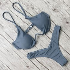 Stylish swimwear - fine picture Grey Bikini, Bikini Modells, Beachwear For Women, Women Swimsuits, Brazilian Swimwear, Push Up Swimsuit, Summer Bikinis, Summer Beach, Trendy Swimwear