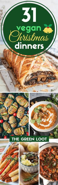 These vegan Christmas dinner recipes will create a healthy and easy holiday menu! They are super delicious, meatless and plant-based main dishes and sides. Enjoy! | The Green Loot ... #vegan #veganchristmas