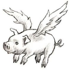flying pig sketch - Google Search