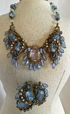 Vintage Signed Miriam Haskell Blue Art Glass Pearl Rhinestones Necklace Earrings