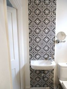 cement tiles in my shower room Condo Bathroom, Bathroom Closet, Bathroom Interior, Modern Bathroom, Guest Toilet, Downstairs Toilet, Toilet Tiles, Mad About The House, Feature Tiles