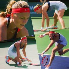 On her knees. Can't keep up. Kvitova against Radwanska in the quarterfinals of #BNPPO16