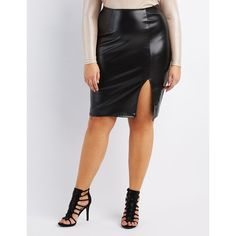Charlotte Russe Faux Leather Pencil Skirt ($25) ❤ liked on Polyvore featuring skirts, black, charlotte russe skirts and charlotte russe