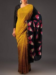 Mustard-Black Clamp Dye Chanderi Saree