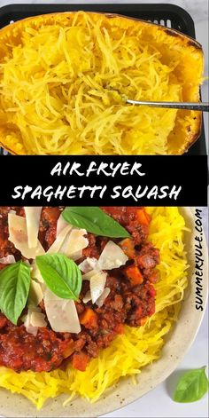 How do you cook spaghetti squash so it isn't so watery? My air fryer spaghetti squash recipe comes out perfectly every time! Veggie Recipes Healthy, Healthy Snacks, Vegan Recipes, Bolognese Sauce, Spaghetti Squash Recipes, Lunch Snacks, Recipes From Heaven, Food Heaven, Kid Friendly Meals