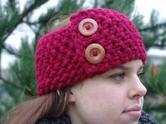 The Cobblestone Ear Warmer/Headband  Cranberry by BeehiveCreation