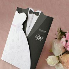 1Sample Set Bride and Groom Wedding Invitations Dress and Tuxedo Cards TU004 #TUCard