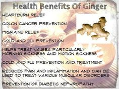 Move it and lose it.: HEALTH BENEFITS OF GINGER