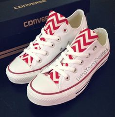 c03faa59edce Items similar to Red Chevron Converse Low Top Sneakers White Custom Chuck  Taylors on Etsy