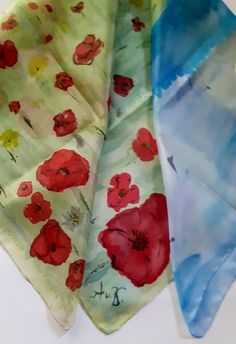POPPY field, silkscarf, handpainted, silkpainting, wall hanging, 100% pure silk, birds in the sky, unique gift woman, painting, ART to wear Silk Painting, Woman Painting, Painting Art, Birds In The Sky, Pigment Coloring, Hand Painted Walls, Unique Gifts For Women, Different Light, The Elf