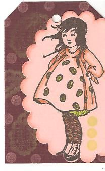 Spideycindy:  VLVS Girl with Polka Dot Dress and stampendous clear mounted paisley from a set  Eraser pencil dots, versafine onyx black, memento tangelo color box fluid chalk in lime pastell and tangerine, spellbinders die cut  The color selection was Burgundy, Coral, Tangerine and the bonus is Lime Green  I love this stamp from Stampo! (stamper's comment.  And Stampo is VivaLasVegas Stamps)